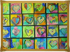 Warm and Cool colors. Each kid gets a heart. Then they color one side with warm and the other side with cool.