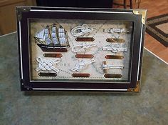Nautical Wall Hanging Displaying Ship & Knots with Brass Titles! Slight Wear