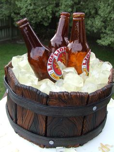 Beer bottle ice bucket cake - My 1st attempt in making sugar bottles.  At first I felt very intimidated by it but after much research the instructions posted by MYOM-Dominic was so clear that even I could understand (and follow) it!! Thanks Dominic, it was great :o)