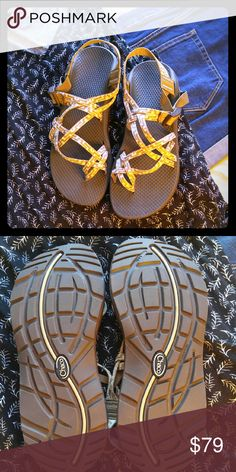 Chaco Sandals Brown and cream Chaco sandals brand new never worn. Adjusts to any foot to fit perfectly. Geometric pattern on straps. Chacos Shoes Sandals