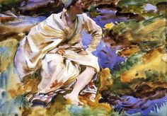 A Man Seated by a Stream, Val d'Aosta, Pertud - John Singer Sargent - The Athenaeum