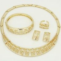 Wish | Glamor Style Gold-plated Jewelry Necklace Sets Jewelry Set Design Retro Women Dubai Gold Jewelry (Color: Gold)
