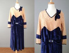 Vintage 20s Blue Silk Velvet and Lace Dress  // Flapper Dress // Great Gatsby Dress - 25% off with coupon code NYE2013