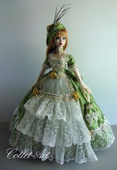 "Tonner 18 5"" Evangeline Ghastly Doll Clothes Gown Fashion Green OOAK Collet Art 
