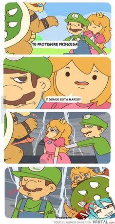 Funny memes She already has a boyfriend. Memes Do Mario, Mario Funny, Super Mario Brothers, Super Mario Bros, Video Games Funny, Funny Games, Memes Humor, Mario Comics, Nintendo Game