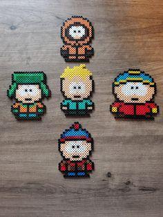 Set of 5 South Park Perler Beads Easy Perler Bead Patterns, Melty Bead Patterns, Perler Bead Templates, Diy Perler Beads, Perler Bead Art, Beading Patterns, Loom Patterns, Loom Beading, South Park