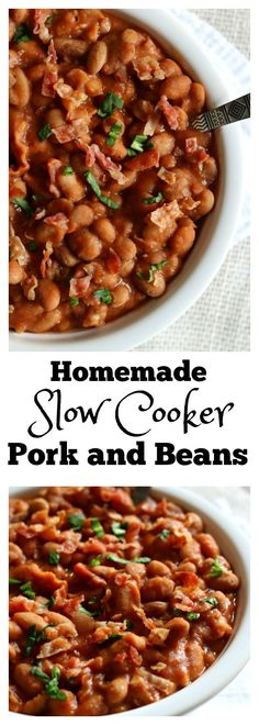 Homemade Slow Cooker Pork and Beans: your childhood favorite pork n' beans made at home in your slow cooker with dried beans and lots of crispy bacon and just a couple other pantry staples. (Paleo Soup Slow Cooker)