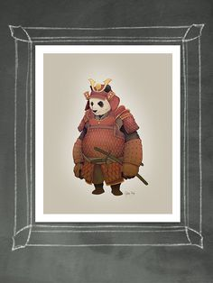 Samurai Panda illustration art print by jakepageillustration, $22.00