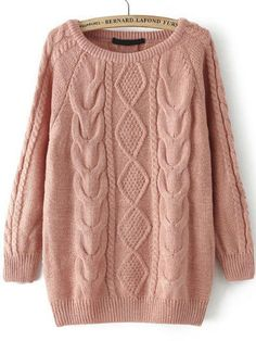 Shop Cable Knit Loose Pink Sweater online. SheIn offers Cable Knit Loose Pink Sweater & more to fit your fashionable needs.