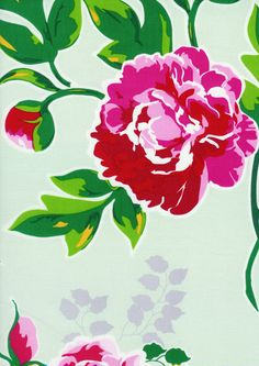 ENGLISH SWING LARGE PEONY PEONEY RED WHITE FLORAL FABRIC 100% COTTON $9.75/yd