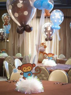 Baby Shower Centerpiece with Monkey Cutouts