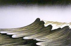 """The Wave"" woodblock by Merlyn Chesterman of Hartland, North Devon. http://www.woodblock.eu/ Tags: Linocut, Cut, Print, Linoleum, Lino, Carving, Block, Woodcut, Helen Elstone, Sea, Ocean, Waves."