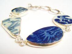 Broken China Bracelet Delft Blue Pieces Pottery by polishedtwo, $26.00