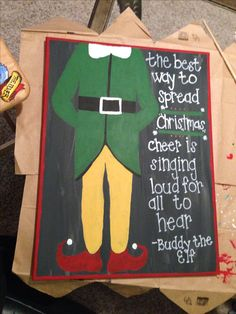 Buddy the Elf canvas for Christmas!!                                                                                                                                                                                 More