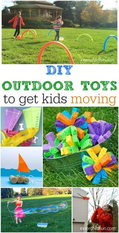 DIY Outdoor Toys to Get Kids Moving Kids Activities Outdoor diy outdoor kid toys - Diy Toys Outdoor Games For Toddlers, Outdoor Fun For Kids, Backyard For Kids, Backyard Games, Kids Outdoor Crafts, Outdoor Summer Activities, Backyard Playground, Outdoor Ideas, Diy Projects For Kids