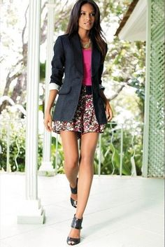 Black blazer, pink top, floral print skirt, black sandals...for my new summer skirt, with classy gladiator sandals i think though