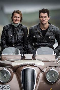 Drivers David Gandy and Yasmin Le Bon, preparing for la Mille Miglia
