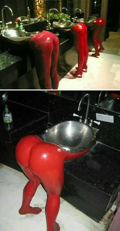 15 Most Creative Sinks (cool sinks, aquarium sink) - ODDEE Lavabo Design, Adult Humor, Inventions, Man Cave, I Laughed, Creepy, Haha, Funny Pictures, Funny Pics