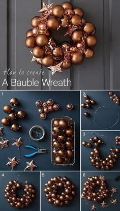 Want to create your own bauble wreath this Christmas? Our simple step-by-step guide explains how to make a beautiful bauble wreath to hang on your front door this Christmas. It will help give your hom Bauble Wreath, Christmas Ornament Wreath, Diy Wreath, Holiday Wreaths, Door Wreaths, Ornaments, Christmas Projects, Christmas Crafts, Christmas Decorations