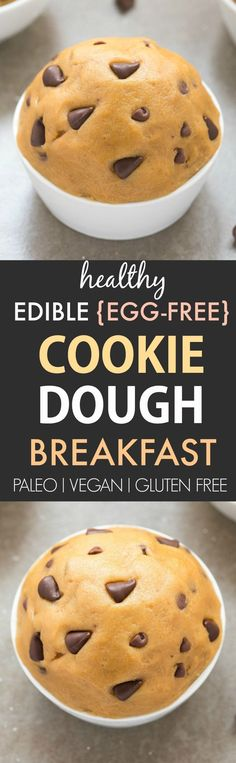 Healthy Edible Egg-Free Breakfast Cookie Dough (Paleo, Vegan, Gluten Free)- Eggless cookie dough made with no flour and no eggs and enjoyed raw!