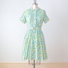 50s Dress, 1950s Day Dress, 50s Floral Cotton Shirtwaister by daisyandstella on Etsy