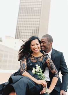 cute rooftop engagement session