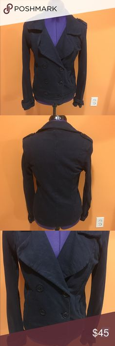 Navy blue jacket Lucky brand jacket. Sweater material blazer. Has six buttons, three that button the jacket and three for decoration. Has two side pockets. Super cute jacket. In great condition. Feel free to make me a reasonable offer 💕 Lucky Brand Jackets & Coats Blazers