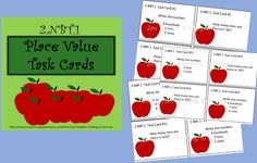 This product contains twenty-four task cards for place value. They are based on the Common Core Standard 2.NBT.1, Mathematics in Base Ten.  An answer document is included. These cards can be used as a math center or to play the classroom game Scoot.