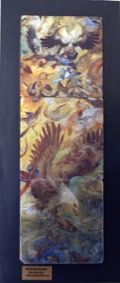 Exotic birds on marble tiles