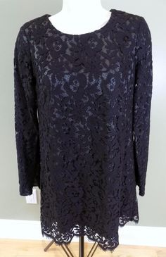 THEORY Black Lace Overlay Camori Cotton Blend Cocktail Dress 4 #Theory #Cocktail