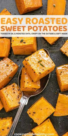 Roasted Sweet Potatoes are tossed in oil, salt, and pepper then baked until the outside is crispy and caramelized with soft, fluffy insides. Under 200 calories and perfect for the holidays.