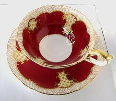 Vintage #Aynsley Bone China #Red Gold Tea #Cup Saucer by JustSparkles, $64.00