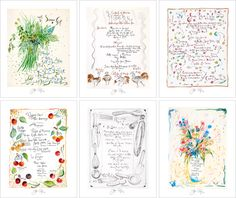 Set of Six Hand-Drawn Menus by Jacques Pepin Framed or Unframed [for sale on the site]