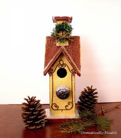 http domesticallyblissful com winter birdhouse, crafts, seasonal holiday decor, This DIY Winter Birdhouse is so simple and fun to decorate with your family this holiday season
