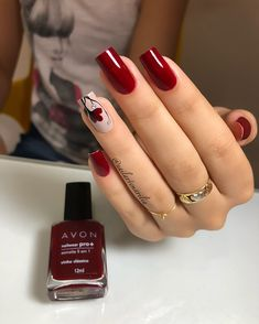 26 Melhores Ideias de Unhas Decoradas com Flor - Uñas Decoradas 💅 Cute Acrylic Nails, Matte Nails, Red Nails, Dark Nails, Latest Nail Designs, Nail Art Designs, Nail Swag, Stylish Nails, Trendy Nail Art