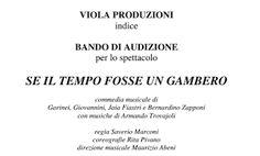 Claudia Grohovaz: BANDO DI AUDIZIONE - SE IL TEMPO FOSSE UN GAMBERO
