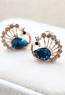 peacock stud earrings $10.16 + free shipping