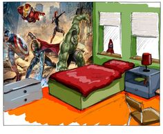 Avengers Street Rage Mural reference 8-432 (368cms across x 254cms long)   Shoulder to shoulder, Iron Man and friends, Captain America, Black Widow and Hulk, join together in the fight against evil.   This digitally printed wallpaper mural is supplied in 8 easy to hang panels each measuring 92cms across by a length of 127cms  (Overall Size 368cms across x 254cms long)