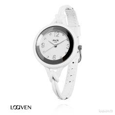 Montre quartz blanche Bracelet cuir Mécanisme myota garanti 2 ans 45€ sur www.loaven.fr #montreBlanche #montrecuir #montrefine #fashion #loaven