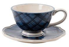 Bristol Indigo Tartan Cup & Saucer