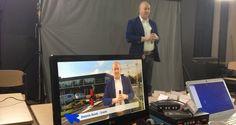 Chromakey studio ingericht in klaslokaal Lentiz Life College voor opname videopitches tijdens regionale beurs Xpo010