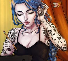 As requested, a close up of Karou's tattoos. The change sometimes from picture to picture =) Daughter of Smoke and Bone Trilogy by Laini Taylor