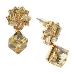 Women's Front to Back Earrings with Casted Square Stones and Cube Stone Back - Gold