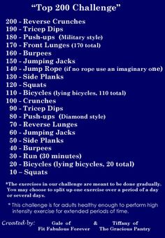 200 Workout! I see the 190 straight tricep dips as pretty daunting, but the goal is to be able to get through this by April 2012. Gotta get working! Right behind  you