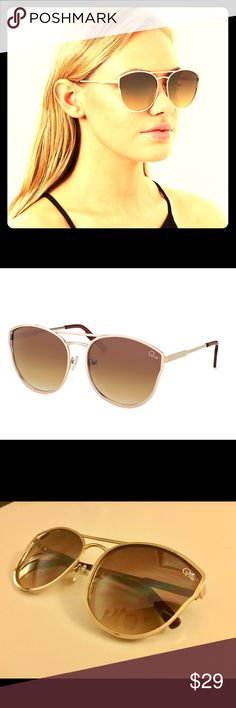 QUAY 'Cherry Bomb' Sunglasses Rounded oversized cat eye sunglasses from fave Aussie label QUAY! Retail new for $55. Feature gold metal frame, brown polycarbonate lens, stainless steel hinges and double bridge adjustable nose pads. 100% UV protection. 140mm width, 60mm height with 15mm nose gap. Quay Australia Accessories Sunglasses