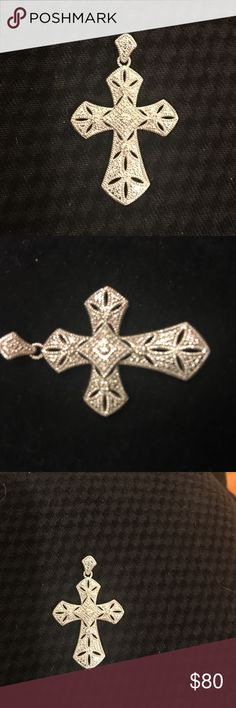 Diamond accent cross Stamped 925 beautiful piece Jewelry Necklaces