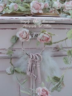 Pretty & romantic ~ shabby pink rose vignette~❥ I love the painted keys.   The pink color is so soft.