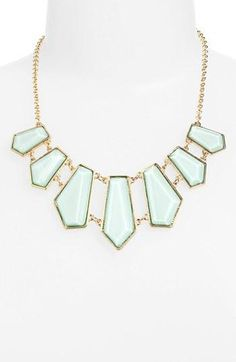 Love this minty, geometric necklace.