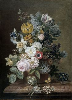 Still Life with Flowers, Eelke Jelles Eelkema, 1815 - 1839 - Rijksmuseum Oil On Canvas, Canvas Art, Still Life Flowers, Colorful Wallpaper, Collage, Botanical Art, Flower Wall, Vintage Flowers, Daffodils