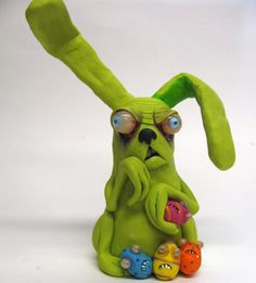 lowbrow ooak creepy art doll zomBie BuNNy by mealymonster